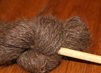 HS#3 Chatty Chestnut Brown Handspun Llama Yarn